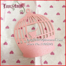 60pcs DIY Place Card BirdCage Cups Glass Wine Wedding Wish Cards Book Mark Laser Cut Pearl Paper Card Birthday Party Decoration