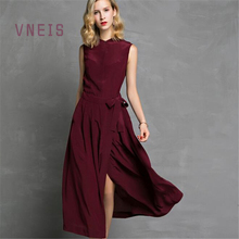 VNESI 2017 100% natural mulberry silk Sexy Sleeveless A-Line Long Dress Shift Beach Wedding Summer Party Bohemian Dresses