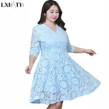 LXMSTH Elegant Dress Plus Size Women's Clothes Autumn New Women Lace Dress Long Sleeve Casual Sexy V-Neck Slim Ladies Dresses(China)