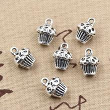 99Cents 5pcs Charms 3D cupcake cake 13*10*8mm Antique Making pendant fit,Vintage Tibetan Silver,DIY bracelet necklace(China)