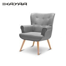iKayaa US UK FR Stock Linen Fabric Tufted Chair Armchair Padded Living Room Chair Wing Back Occasional Sofa for Hotel Bedroom