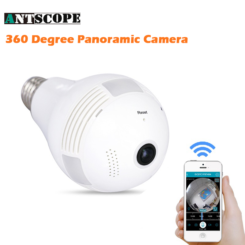 Antscope HD 1080P 2MP Bulb Light Wireless IP Camera Fisheye 360 Degree Panoramic Two Way Audio Home Security Lamp WI-FI Camera<br>