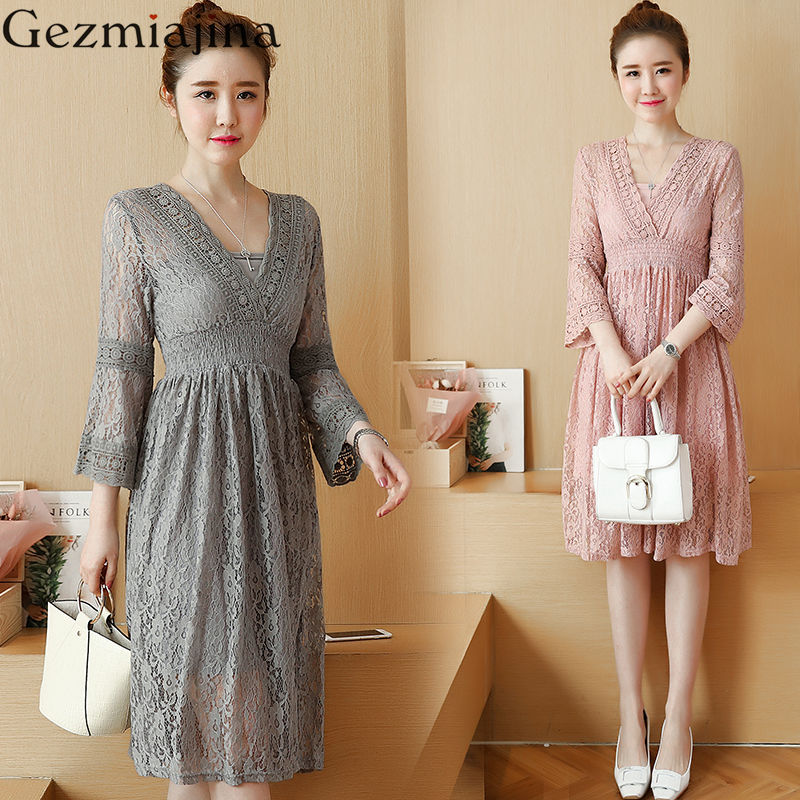 New fashion Pregnancy wear spring clothes Hollow out of bud silk dress Sweet maternity dress V-neck lace dresses<br>