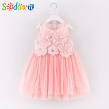 Sodawn 2017  Pretty Princess Dress New  Sweet Lace Vest Dress Brand Summer Baby Vest Dress Children Clothes Party Girls Dress