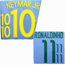 New Retro Brazil RONALDINHO NEYMAR JR football name number font print ,stamping Soccer patches badges