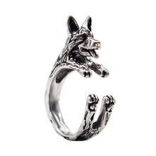 QIAMNI Pet Lovers Gift Handmade Adjustable Boho Chic German Shepherd Animal Rings Gift for Women Men Unique Statement Jewelry