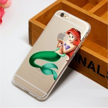 Luxury Cartoon Ariel little Mermaid Snow White eat the LOGO pattern Plastic Case For iPhone 4 4S 5 5S SE 5C 6 6S 6Plus 7 7Plus(China)