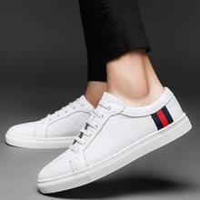 Degli Uomini del Cuoio genuino scarpe da Skateboard Bianco Nero Traspirante  Lace Up Scarpe Da Ginnastica 95b54bfc896