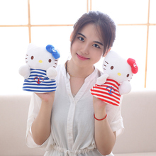 Plush Cartoon Hand Puppets for Kids Parent-Child Early Childhood Animal Puppet toys Hello Kitty Cats Fluffy Finger Puppet/20CM(China)
