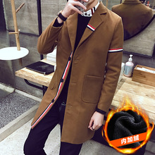 Trench Coat Hooded Mainly Of Men Wool Linen Coats Punk Style Long Sleeve Mens Short Winter 2017 Fleece Button Jacket f27+(China)