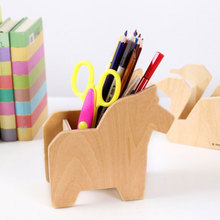 Wood crafts pen holder desktop storage box mobile holders home decoration kids gifts cute animals horse dolphin swan squirrel