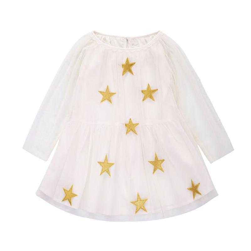 Kids dress long sleeve girls dresses princess costume robe princesse enfant fille embroidery star pattern girls dress <br>