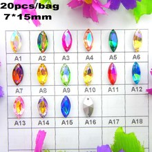 AB colors Two holes 7*15mm 20pcs/bag Navette horse eye shape glass Sew on Crystals garment shoes wedding dress ornament diy trim