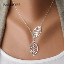 2017 new Fashion Trends Jewelery Mori Metal Leaves Double Leaves Wild Short Necklaces Chainbone Chain Women