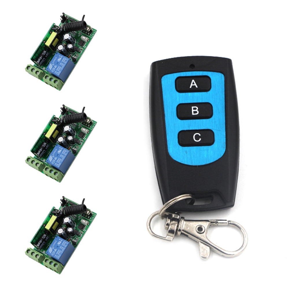 AC 85V 110V 120V 220V 250V 1CH 10A RF Wireless Remote Control Switch System 3Receivers + Transmitter Waterproof High Quality<br>