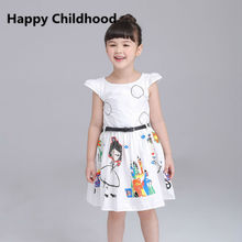 2016 girl summer dress New Girls Clothes 1pc 2-6Y children girl dress with belt cartoon white pretty princess dress for girl