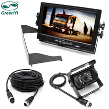 "GreenYi Large Vehicle Truck Bus 7"" TFT LCD Monitor 2 Video Input + Metal IR Rear View Camera No Parking Line Aviation Grade(China)"