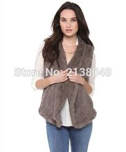SF0053 Wholesale and Retail Top Quality Turn Down Real Rabbit Fur Knitted Women Vests Fur()