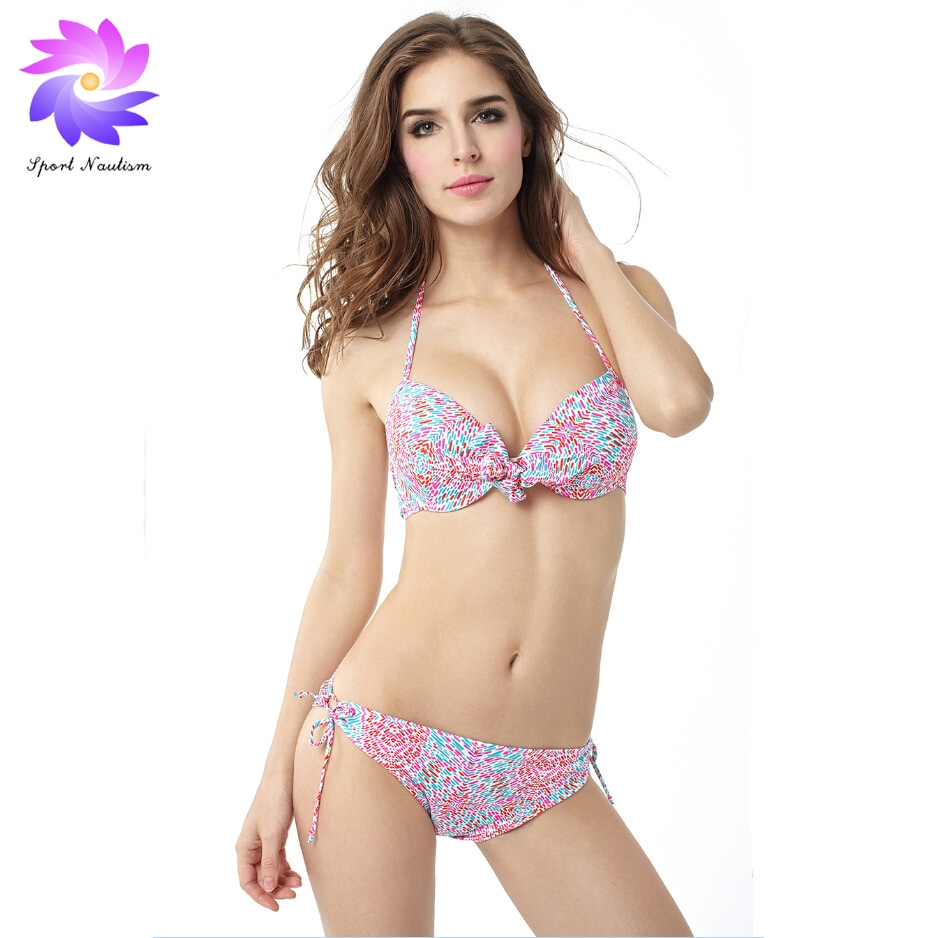 2017 New Womens Blue Halter Bikini Set Floral Pattern Swimwear Swimsuit for Summer Sexy Monokini BK15002<br>