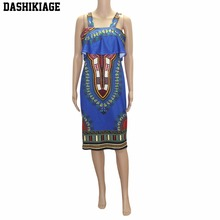 2018 African dresses for women Vintage Dashiki Dress Robe Casual African Print Ladies Indian Dresses Women Clothing(China)