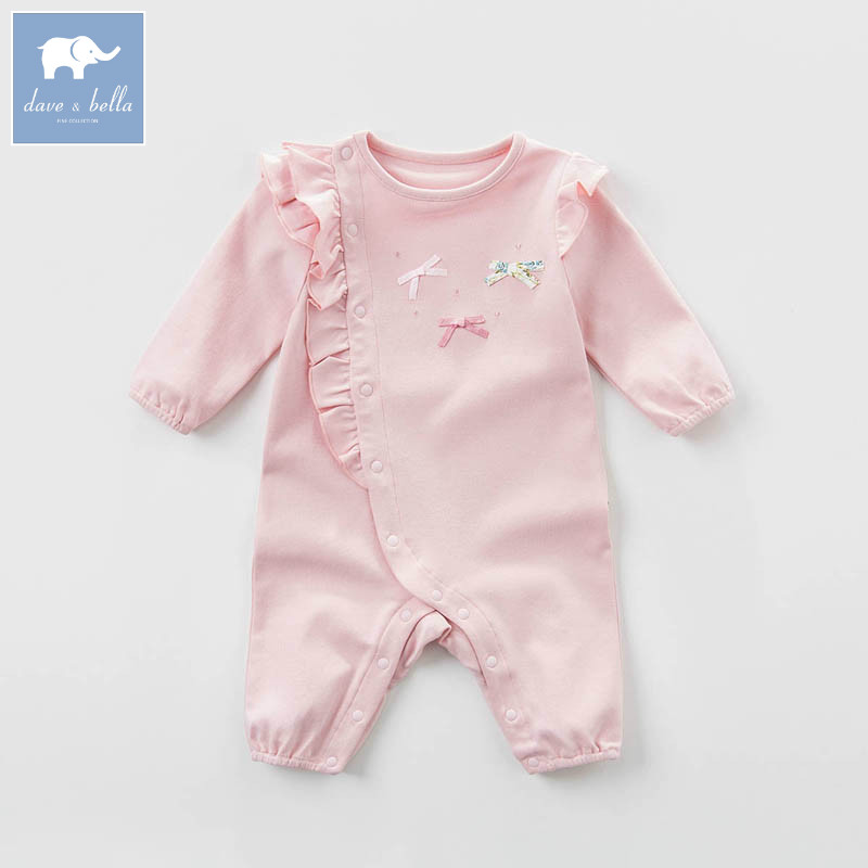 DB7624 dave bella spring new born baby cotton romper infant clothes girls pink cute romper baby 1 piece<br>