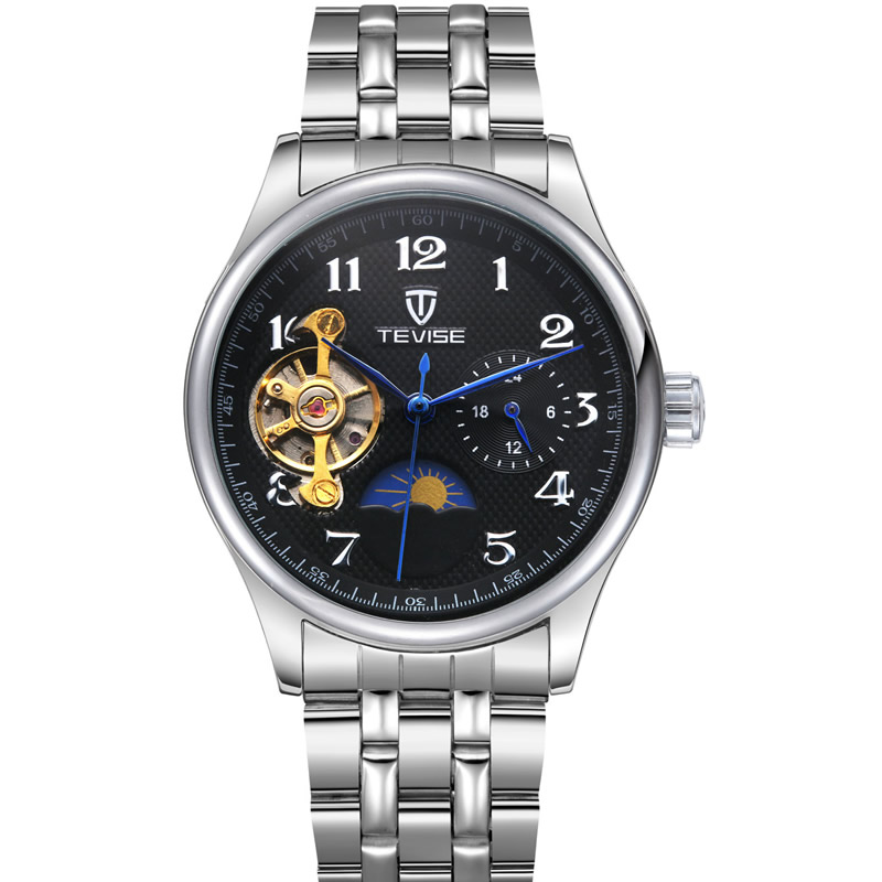 man clocks automatic mechanical luxury tevise Brand men watches business moon phase steel male wristwatch tourbillon waterproof<br><br>Aliexpress