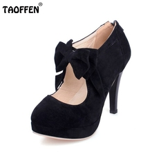 New Plus size 30-47 fashion vintage woman small bowtie platform pumps,ladys sexy high heeled shoes for women footwear PA00150