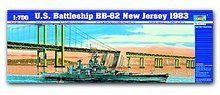 "Trumpeter 1/700 scale model 05702 US clothing Iowa BB-62 ""New Jersey"" battleship 1983(China)"