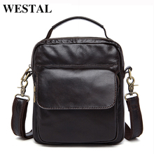 WESTAL Genuine Leather Bag Men Crossbody bags fashion Men's Messenger leather Shoulder Bags handbags Small Travel Male Bag 9073