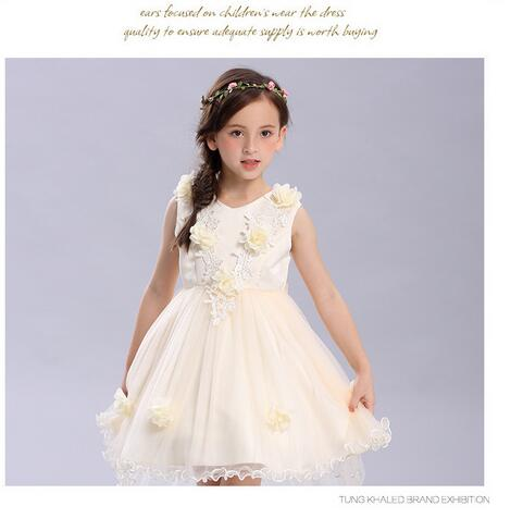 Girls Fishtail Formal Dresses 2017 Autumn Gauze Ball Gowns Flowers Girls Princess Bow Christmas Dress Kids Party Wedding Dress<br>