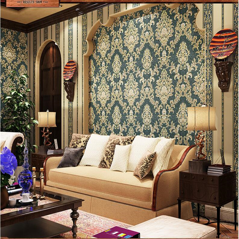 papel de parede American Retro Damascus Wallpaper AB Vertical Streak Wallpaper Bedroom Full Shop Living Room Backdrop<br><br>Aliexpress