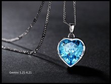 Tiny Light Blue Gemini Necklace Heart Shaped Crystal Gemini Necklace for Women