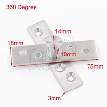 4PCS Stainless Steel Door Pivot Hinges 75mmx18mm 360 Degree Install up and down
