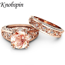 Buy Elegant Zircon Ring Jewelry Plated Rose Gold Color Champagne Gem Engagement Wedding Ring Set Women Size 6-10 anel feminino for $4.56 in AliExpress store