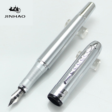 JINHAO 250 Luxury Silver All-Steel 0.5mm Medium Nib Fountain Pen Stationery School&Office Smooth Writing Pen gift
