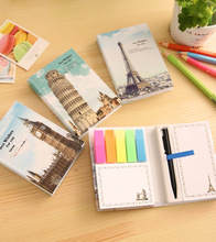 Creative Hardcover Memo Pad Post It Notepad Sticky Notes Architecture Stationery Diary Notebook Office School Supplies pen