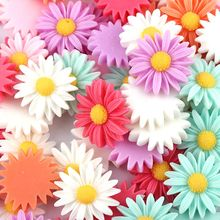 Mixed Color Style 17mm 50pcs/lot Flat Back ResinsCabochon Scrapbook, 3D Resin Sun Flower Fit Phone Embellishment(China)