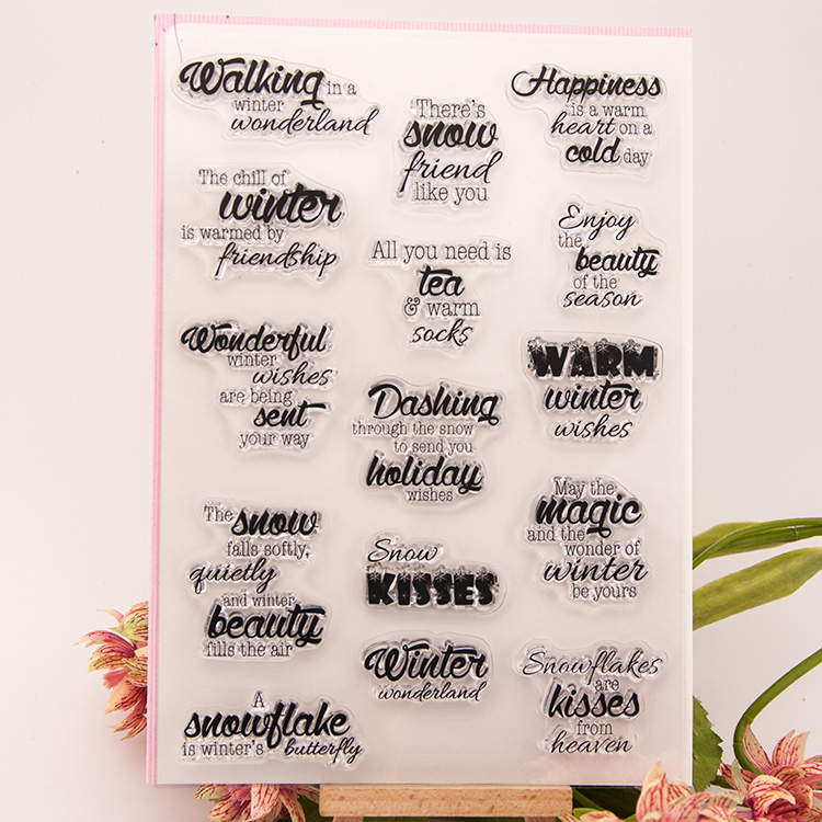 warm Greetings Transparent Clear Silicone Stamps for DIY Scrapbooking Kids Christmas for Fun Decoration Supplies RM-046<br><br>Aliexpress