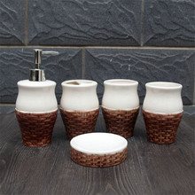 Five pieces of blue and white porcelain ceramic bathroom set bathroom toiletries toothbrush holder Toilet tooth cup holder