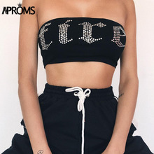 Aproms Festival Club Rhinestone Crop Top 90s Cool Girls Streetwear Camis Women Fashion Sexy Bustier Bra Tube Feamle Tank Tops(China)