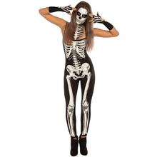 Dreszdi Cool Printed Skeleton Cosplay Wearing Halloween Costumes Jumpsuit Sexy Bodycon Special Occasion Bone Costume