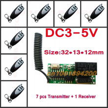 3v 3.7v 5v RF Remote Control Switch Mini Receiver + Mini 7 Transmitter Learning Code Momentary Toggle Latched Adjustable(China)