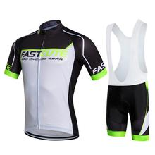 Cheap Price Top Quality Fastcute Cycling Jersey White Color Short Sleeve Cycling Clothing Padded Bib Shorts Set Maillot Roupa(China)