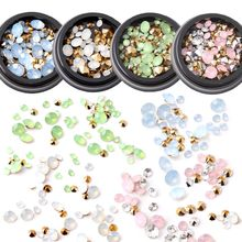 1 Box 3D Colorful Crystals DIY Nail Glitter Multi-size Sharp Bottom Nail Art Rhinestones Manicure Decoration Stick On Fingernail(China)