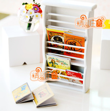 MINI dollhouse miniature  White mini books and magazine rack of movable furniture parts