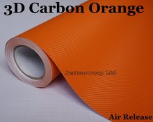 Orange 3D Carbon Fiber Vinyl Film Roll Air Release / Bubble Free For Car Wrapping / Styling Thickness: 0.14mm Size:1.52*30m/Roll(China)