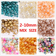 TPSMOC 1000Pcs Mixed 2-10mm Craft ABS Resin Flatback Half Round Pearls Flatback Cabochon Beads Jewelry DIY Decoration