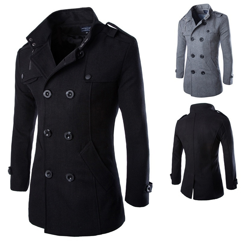 Woolen Coat Jackets Outerwear Black Autumn Double-Breasted Men's Winter Fashion Casual title=