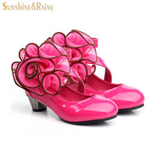 Autumn Girl Sandals Peep Toe Aerobic Shoes Baby Dancing Shoes Big Rose Princess Party Shoes High Heel For Kids Freeshipping
