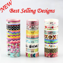 1Pc 10m Flowers/Chevrons Diy Japanese Washi Tape Masking Tape Decorative Adhesive Tapes Scrapbooking Photo Album School Supplies